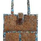 Vera Bradley Tiki Tote Bali Blue cane rattan laptop beach bag  NWT Retired FS