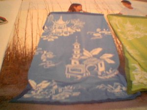 Martha Stewart by Mail  giant Pagoda Beach Towel  NIP  chinoiserie