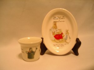 Peter Rabbit Trinket Plate / tray & beaker / egg cup   Beatrix Potter  Wedgewood F. Warne & Co