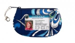 Vera Bradley Clip Zip ID Case Mediterranean Blue  coin purse tech card pda wallet  NWT Retired