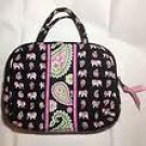 Vera Bradley Purse Cosmetic bag Pink Elephants makeup travel case VHTF  NWOT Retired