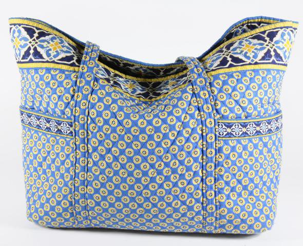 Vera Bradley Super Tote Riviera Blue XL beachbag carryall satchel weekender  � EUC Rare Retired