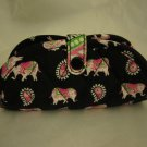 Vera Bradley Jewelry Pouch Case ring holder organizer roll   Pink Elephants  Retired