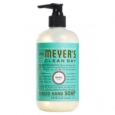 Mrs Meyers Clean Day Liquid Hand Soap Basil TWO 12.5 oz pump bottles FS