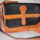 Dooney and Burke All-weather crossbody handbag purse   black w tan leather