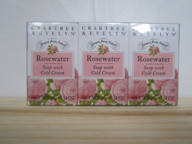 Crabtree Evelyn Rosewater mini Soap with Cold Cream Set/3 � Travel Personal Guest Size giftpack