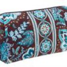 Vera Bradley Medium Cosmetic case  make-up bag Java Blue  Retired NWT