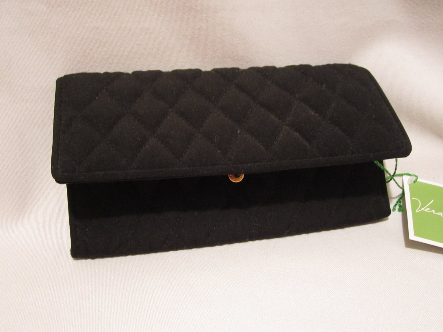 Vera Bradley Clutch Wallet Black microfiber • NWT Retired • wristlet evening bag