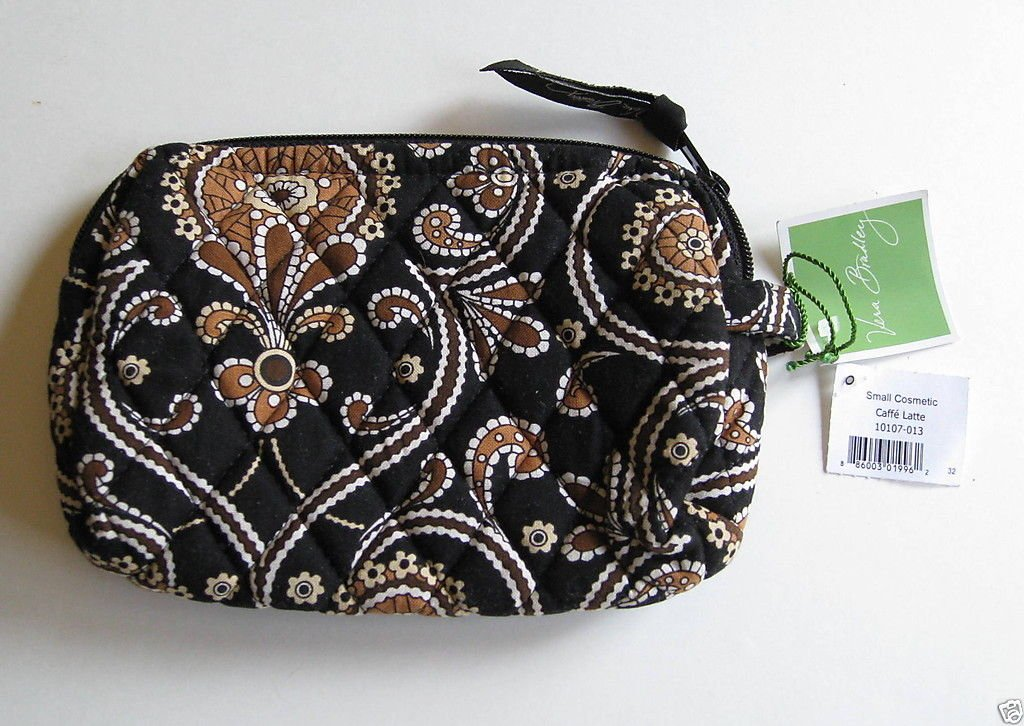 Vera Bradley Small Cosmetic Caffe Latte travel  makeup case  Retired  NWT