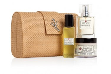 India Hicks Island Living Clutch Gift Crabtree & Evelyn bath body fragrance travel trio in baguette
