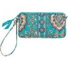 Vera Bradley Wristlet tech case cosmetic bag in Totally Turq  NWT Retired