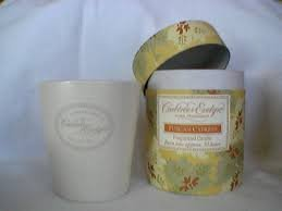 Crabtree Evelyn Candle Tuscan Cypress fig basil  30 Hr.  FS Disc poured ceramic jar reusable