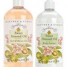 Crabtree Evelyn Almond Oil 16.9 oz Shower Gel Lotion Set  500 ml Value Size