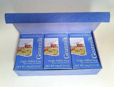 Crabtree Evelyn Goatmilk box/3 Soap 100g 3.5 oz. FS Discontinued original version