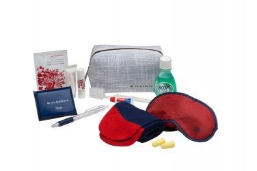 US Airways American Airlines First Class Amenity Kit  Red Flower travel cosmetic tech case