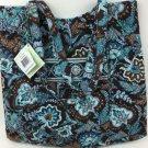 Vera Bradley Curvy Tote Java Blue  purse knitting lingerie shopper tote   Retired  VHTF NWT