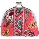 Vera Bradley Call Me Coral Double Kiss coin purse • Retired  nwot PDA small makeup tech