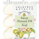 Sweet Almond Soap Crabtree & Evelyn FS set/3 individually boxed bars 3.5 oz ea •