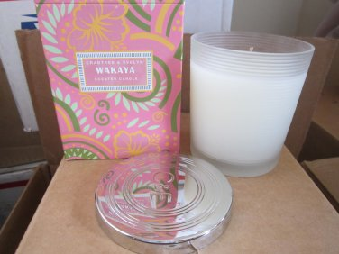Crabtree Evelyn Wakaya poured Candle 4X 50hr burn silver lidded jar DISC tiare flower orange FS