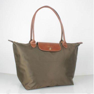 Longchamp Le Pliage L Tote Taupe brown nylon FS