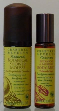 Crabtree Evelyn Naturals Body Mist and Shower Mousse FS Gel Wash � TRAVEL DUO verbena grapefruit