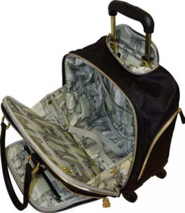 Aimee Kestenberg Florence underseater spinner rolling luggage Carry-on black with gold hardware