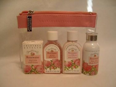Crabtree Evelyn traveler Rosewater Bath Shower POWDER Lotion Zip Case 5 pc � FS traveller