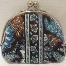 Vera Bradley Java Blue Double Kiss Coin purse  • NWT Retired ziplock small clutch