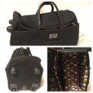 Vera Bradley 22 inch Roll Along Duffel Classic Black rolling tote carry on EUC