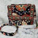 Vera Bradley Julia  Versailles handbag crossbody convertible shoulder bag black red retired purse