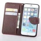 iPhone 4g 4 4S Leather leaf Case flip stand wallet CC holder wrist strap Black Brown nib