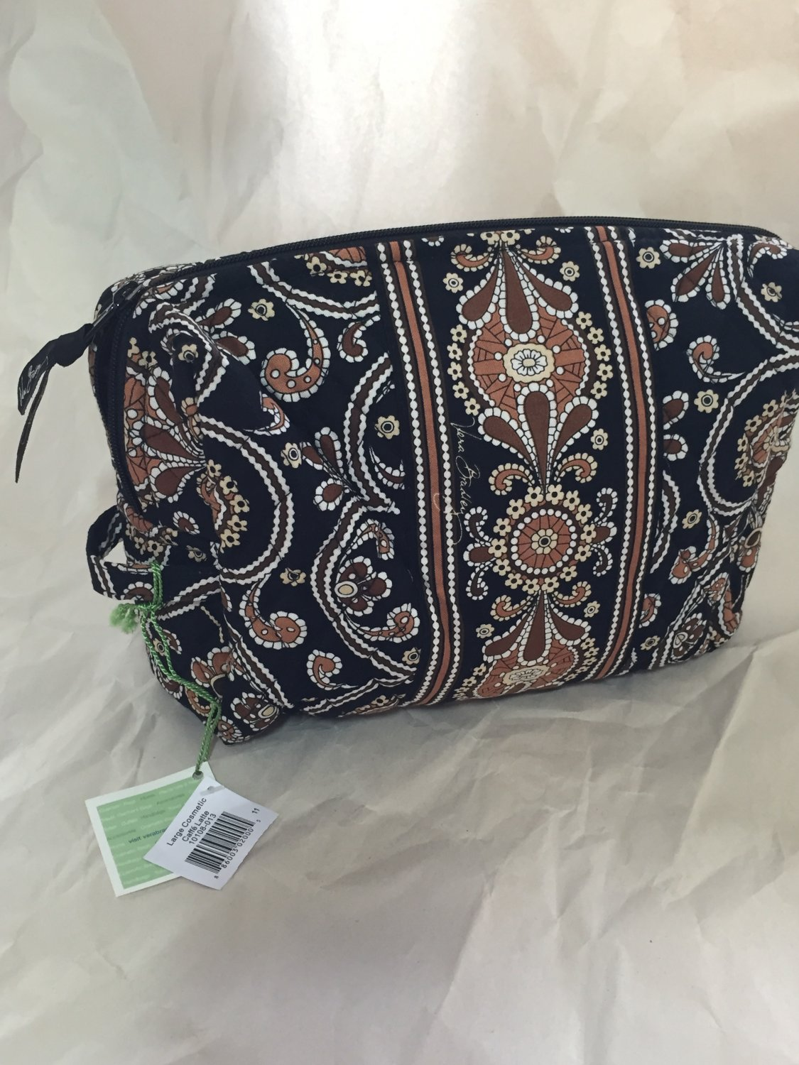 Vera Bradley Large Cosmetic Caffe Latte Retired travel cosmetic tote makeup case NWT