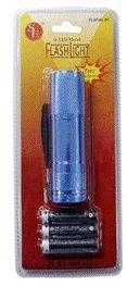 9 LED Metal Flashlight w/ Batteries - Blue