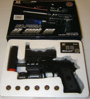 Airsoft Gun with Silencer, Laser and Bluelight