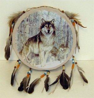 Wolf Tamborine Dream Catcher - Style 2