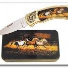 Horse Knife in Metal Tin