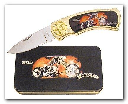 Motorcycle Chopper Knife in Metal Tin