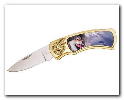 Wolf Knife in Metal Tin