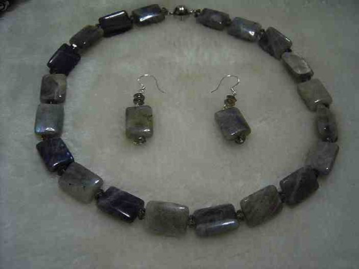 Natural Shimmer stone square bead crystal necklace earring