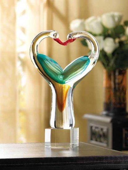 Lovebirds Art Glass Sculpture