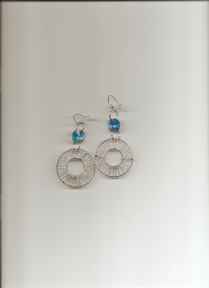 Turq Crystal Cylinder Earrings