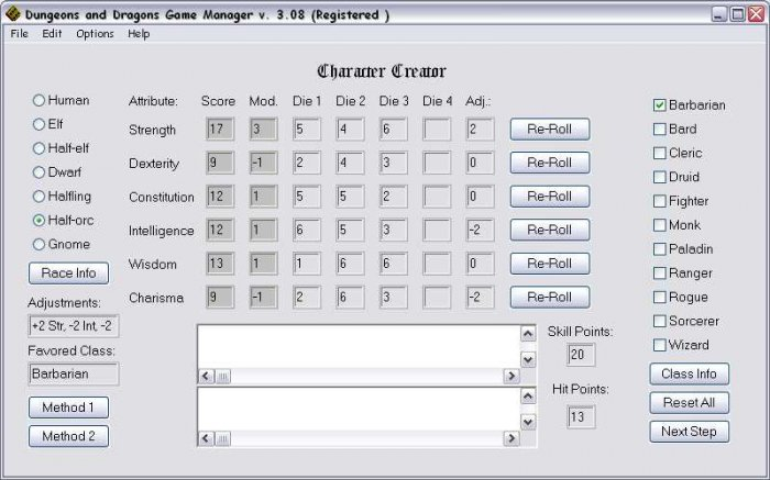Dungeons and Dragons Game Manager 3.08