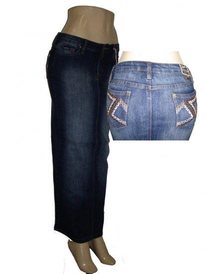 Stretch Denim Long Skirt