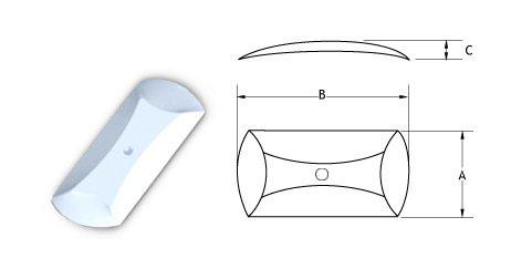 Oblong Metal Dome - Center Dimple-5*38.-200CIRO