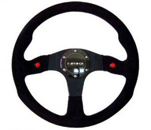 NRG 320mm Sport Suede Steering Wheel w/ 2 button