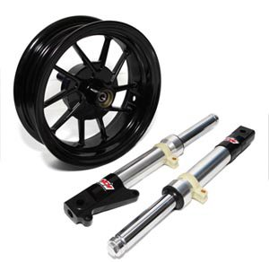 NCY Honda Ruckus Chrome Front End Kit Conversion (Brushed Aluminum) 10 Spoke Wheel