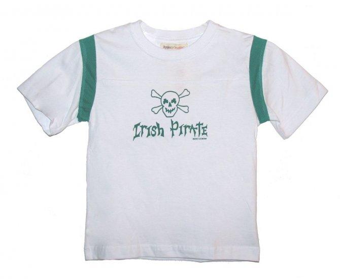 Irish Pirate Skull Shamrock Shirt (white/green)