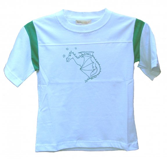 Flying Dragon White and Green Shirt (Child sizes 2T, 4T, 6)