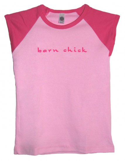 Barn Chick Pink Horse Shirt (Child Sizes 8, 10, 12)