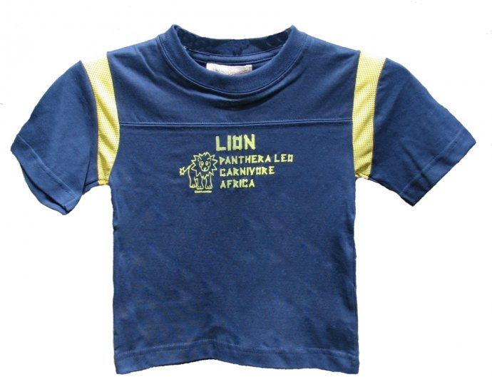 Lion Panthera Leo Carnivore Africa Zoo Navy/Yellow Mesh Shirt (2T, 4T and 6)